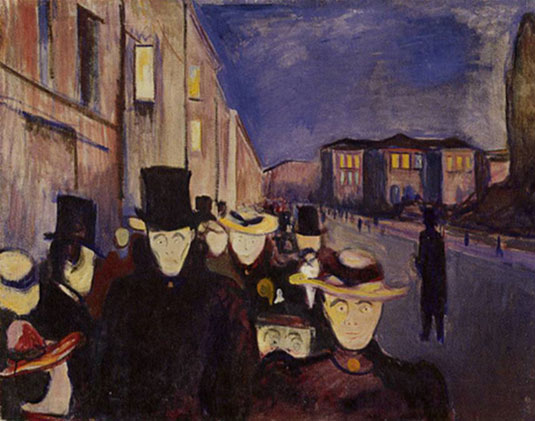 mediocrazia, Edvard Munch, Evening on Karl Johan Street, 1892